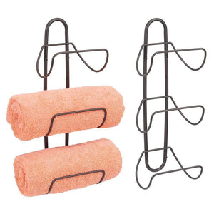 Cheap mdesign modern decorative metal 3 level wall mount towel rack holder and organizer for storage of bathroom towels washcloths hand towels 2 pack bronze