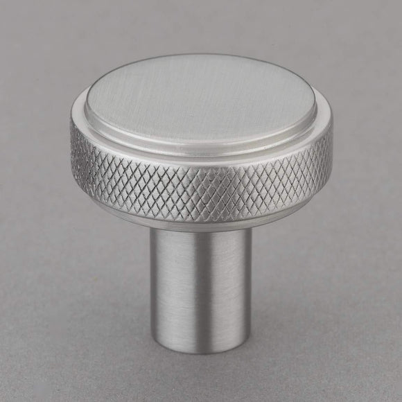 "Belle Knurled 1.25"" Knob Pulls Handle Hardware Satin Nickel Finish Great for Kitchen or Bathroom Cabinets, Drawers, Dressers, and More! - P100-10/4543"