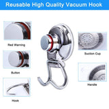 Products suction cup hooks heavy duty vacuum hook wall suction hooks for flat smooth wall bathroom kitchen towel robe loofah stainless steel chrome pack of 3