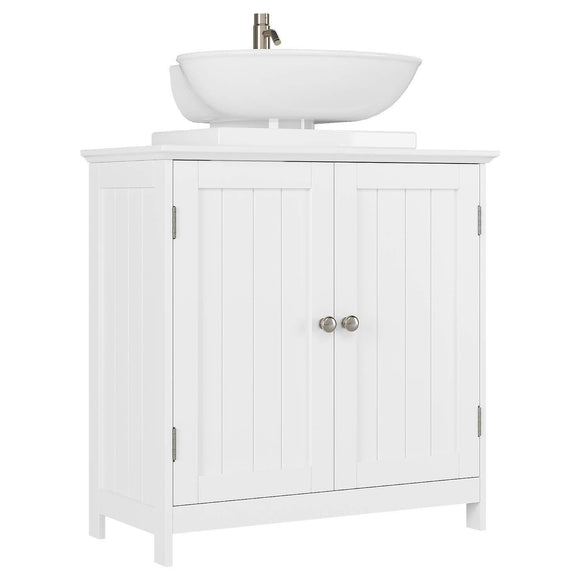Bathroom Vanity Under Sink Cabinet Space Saver with Double Doors and Adjustable Shelves, White