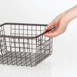 Storage organizer mdesign farmhouse decor metal wire food storage organizer bin basket with handles for kitchen cabinets pantry bathroom laundry room closets garage 10 25 x 9 25 x 5 25 4 pack bronze