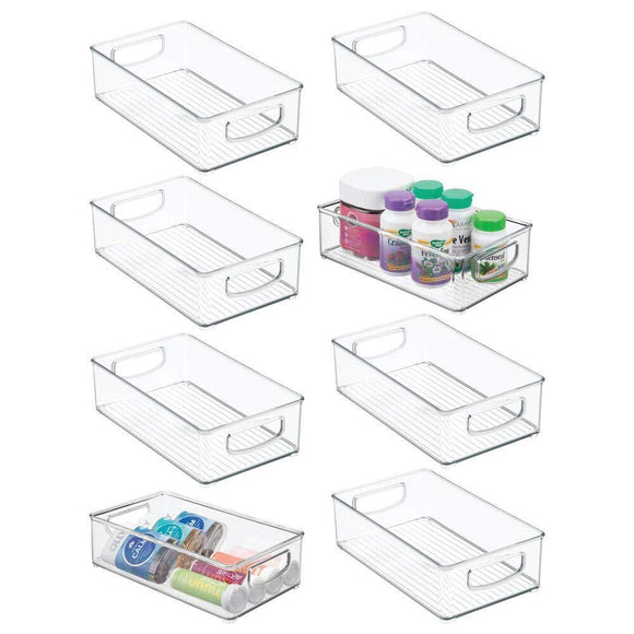 Shop for mdesign stackable plastic storage organizer container bin with handles for bathroom holds vitamins pills supplements essential oils medical supplies first aid supplies 3 high 8 pack clear