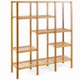 Kitchen autentico 5 tiers design multifunctional bamboo shelf storage organizer plant rack display stand solid construction waterproof moistureproof perfect for bathroom balcony kitchen indoor outdoor use