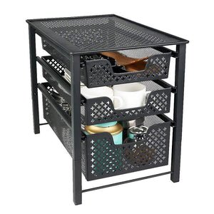 Selection stackable 3 tier organizer baskets with mesh sliding drawers ideal cabinet countertop pantry under the sink and desktop organizer for bathroom kitchen office