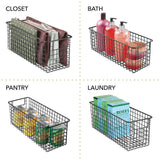 New mdesign farmhouse decor metal wire food storage organizer bin basket with handles for kitchen cabinets pantry bathroom laundry room closets garage 16 x 6 x 6 6 pack matte black