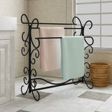 Top homerecommend free standing towel rack 3 bars drying rack metal organizer for bath hand towels outdoor beach towels washcloths laundry rooms balconies bathroom accessories