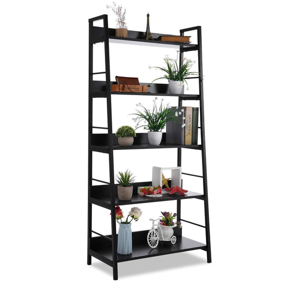 5 Shelf Ladder Bookcase, Industrial Bookshelf Wood and Metal Bookshelves, Plant Flower Stand Rack Book Rack Storage Shelves for Home Decor
