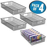 New mdesign household metal wire cabinet organizer storage organizer bins baskets trays for kitchen pantry pantry fridge closets garage laundry bathroom 16 x 9 x 3 4 pack matte black