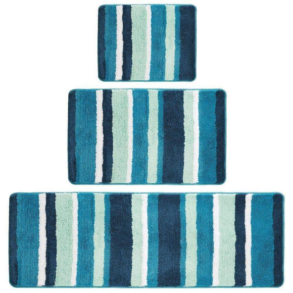 Best mdesign soft microfiber polyester spa rugs for bathroom vanity tub shower water absorbent machine washable plush non slip rectangular accent rug mat striped design set of 3 sizes teal blue