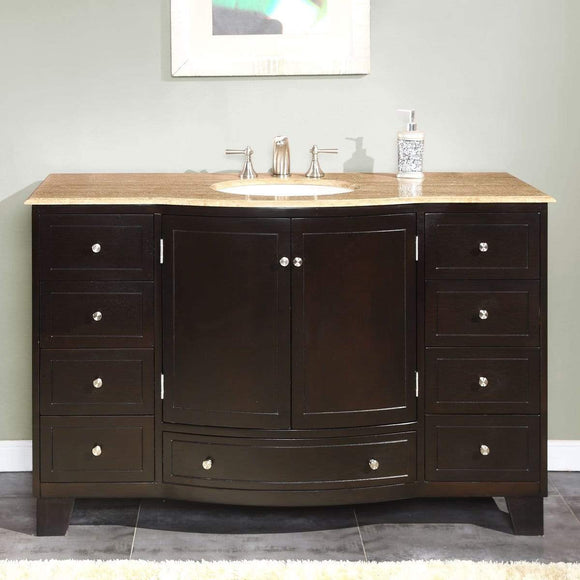 Organize with silkroad exclusive hyp 0703 t uwc 55 travertine top single white sink bathroom vanity with espresso cabinet 55 dark wood