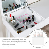 Storage organizer vanity set with dressing table flip top mirror organizer cushioned stool makeup wooden writing desk 2 drawers easy assembly beauty station bathroom white