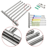 Buy now sumnacon wall mounted swing towel bar silver stainless steel bath towel rod arm bathroom kitchen swivel towel rack hanger holder organizer folding space saver towel rail 6 bar