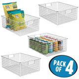 Online shopping mdesign farmhouse decor metal wire food organizer storage bin baskets with handles for kitchen cabinets pantry bathroom laundry room closets garage 4 pack chrome