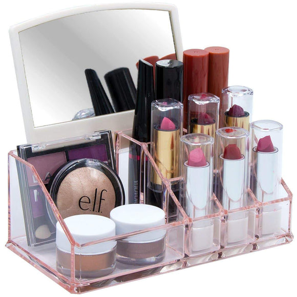 Online shopping sorbus acrylic cosmetic makeup organizer with mirror beauty skincare jewelry storage case with removable mirror compact design for bathroom dresser vanity pink