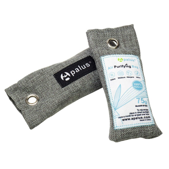 Apalus Mini Air Purifier Bags, Bamboo Activated Charcoal Shoe 75G x2