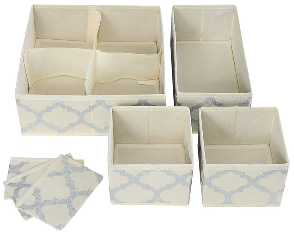 Get set of 4 organizer bins with dividers for closet dresser drawer inserts bathroom dorm or baby nursery store socks underwear clothes clothing organization organizador de closet set of 4 beige