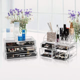 Discover offeir us stock clear acrylic stackable cosmetic makeup storage cube organizer jewelry storage drawers case great for bathroom dresser vanity and countertop 3 pieces set 4 small 3 large drawers