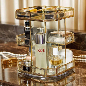 Latest putwo makeup organizer 360 degree rotating 3 layers large multi function makeup storage glass vintage cosmetic organizer for countertop bathroom dresser fits different types of cosmetics gold