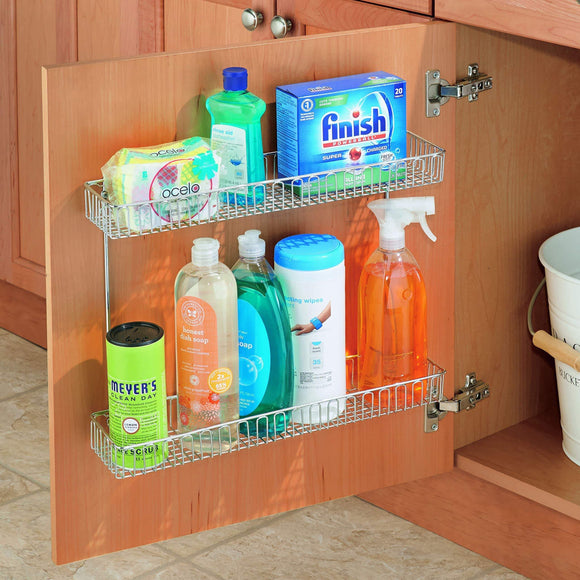 Save interdesign classico metal 2 tier shelf under sink organizer for kitchen bathroom cabinets 16 75 x 4 25 x 13 chrome