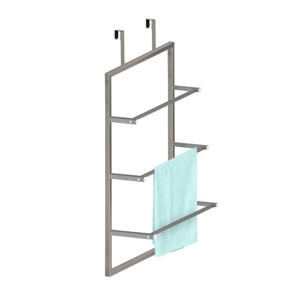 3-Tier Over-The-Door Steel Bathroom Towel Rack, Grey