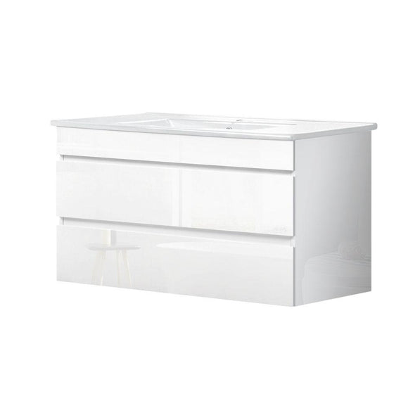 Cefito Bathroom Vanity Cabinet Unit Wash Basin Sink Storage Wall Hung 900mm White