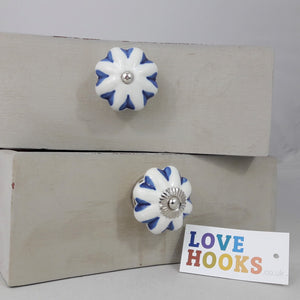 White Ceramic Rosette Blue Hearts Design Drawer Knob 45mm