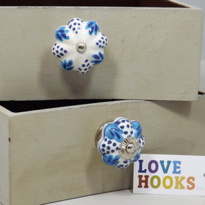 Blue & White Ceramic Rosette Leaf & Dots Drawer Knob 40mm