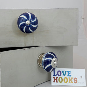 Round Ceramic Drawer Knob, blue spiral design 40mm