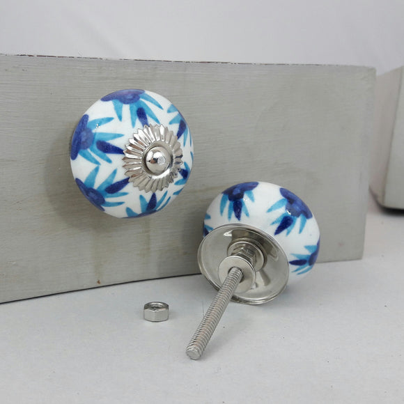 Round Ceramic Drawer Knob, two tone blue flower design 40mm