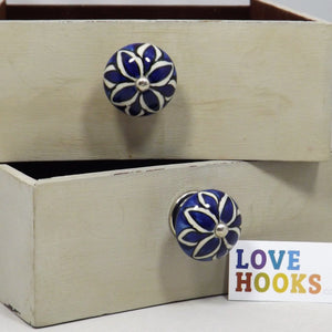 Blue Ceramic Round Petal Design Drawer Knob 45mm