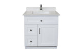 30 ̎ Maple Wood Bathroom Vanity in White - Combo