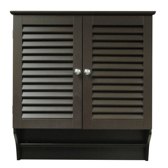 Espresso Wall Mounted Bathroom Cabinet with Shelves and Towel Bar