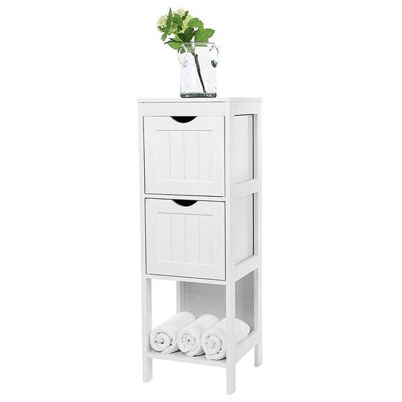 Modern 2 Drawer Bathroom Cabinet Storage Rack in White