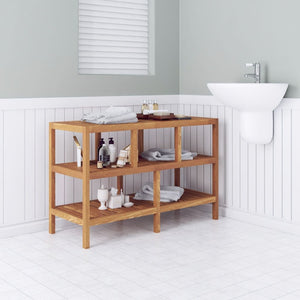 Bathroom Shelf Solid Walnut Wood 100x40x65 cm