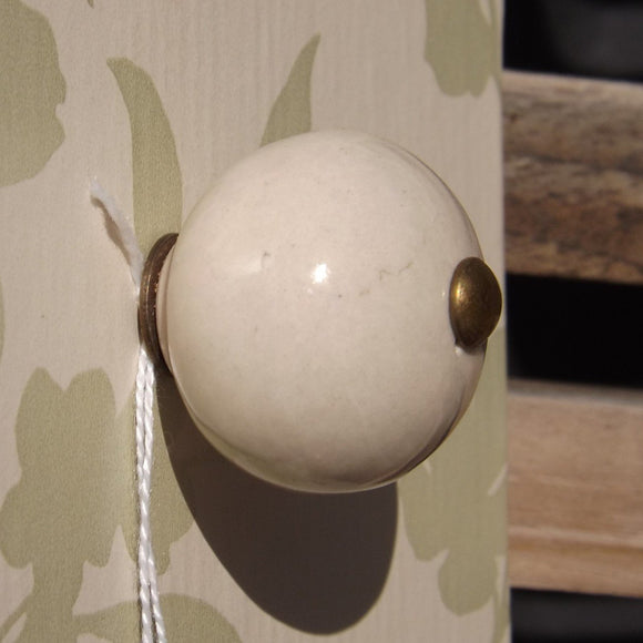 Contemporary round Ceramic Cream Drawer Knob 3cm