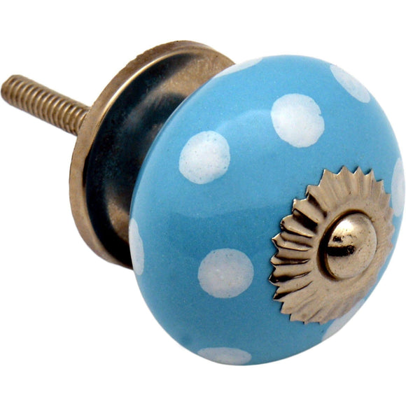 Nicola Spring Ceramic Polka Dot Door Knob - Light Blue/White