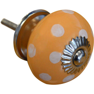 Nicola Spring Vintage Spotted Ceramic Door Knob - Orange