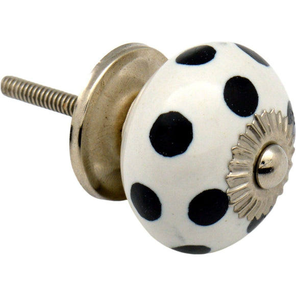 Nicola Spring Vintage Spotted Ceramic Door Knob - White / Black