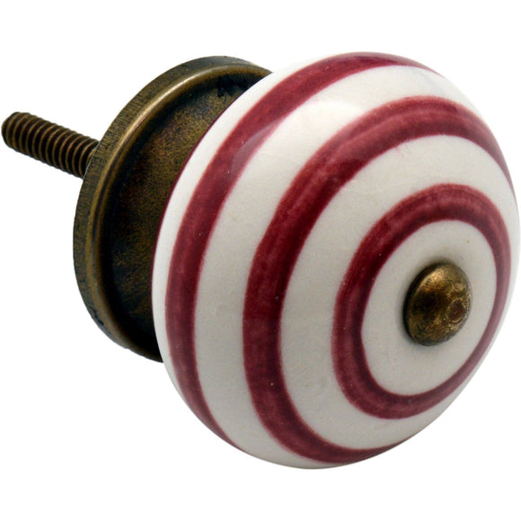 Nicola Spring Vintage Striped Ceramic Door Knob - Burgundy