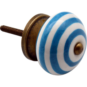 Nicola Spring Vintage Striped Ceramic Door Knob - Blue