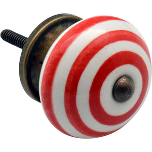 Nicola Spring Vintage Striped Ceramic Door Knob - Red
