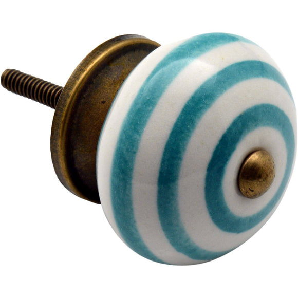 Nicola Spring Vintage Striped Ceramic Door Knob - Turquoise