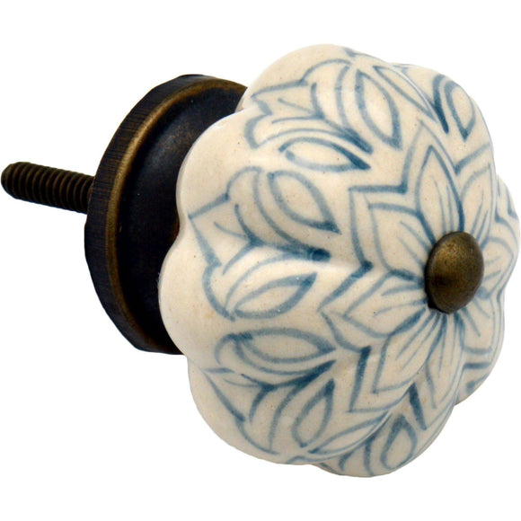 Nicola Spring Vintage Floral Ceramic Door Knob - Light Blue