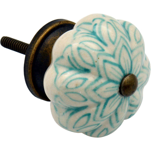 Nicola Spring Ceramic Vintage Flower Door Knob/Handle - Mint Green