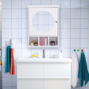 Bathroom Cabinet Mirror Door Wall Mount Storage Wood Shelf White Finish Modern Bathroom Furniture
