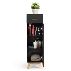 Waterproof Bathroom Cabinet with Adjustable Shelves and Sliding Drawer-Black