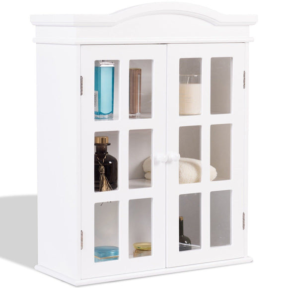 Wall-Mount Bathroom Double Doors Shelved Storage Cabinet