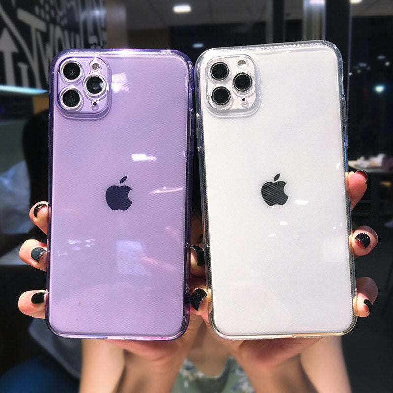Fluorescent Colors Case For iPhone 12 11 Pro Max XR X XS Max 7 8 Plus Solid Color Soft TPU Transparent Back Cover Trendy Case For iPhone