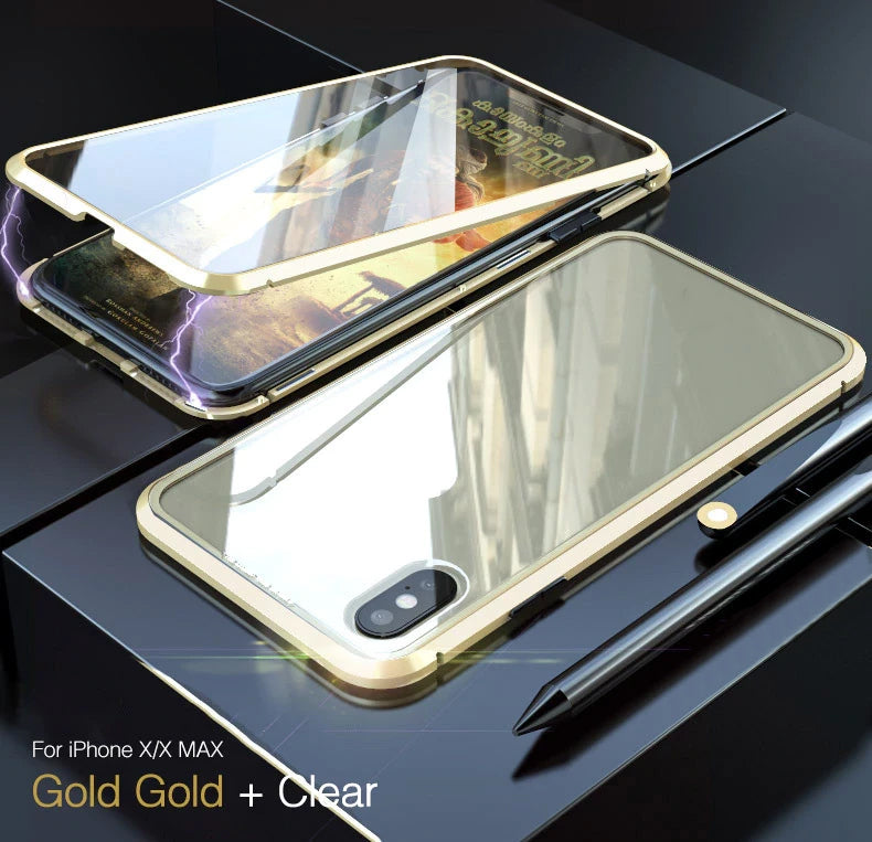 360 Degree Protection Full Metal Bumper Magnetic Case For iPhone X XS Max XR 8 7 With Front & Back Glass Case For iPhone Magnetic Case
