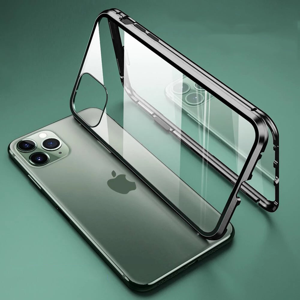 360 Metal Frame Double Sided Glass Magnetic Case for iPhone 12 Pro Max XR XS MAX 11 8 7 6 6s Plus Full Protection Tempered Glass Phone Cover for iPhone 12 7 8.